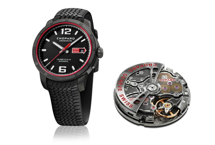 Chopard Mille Miglia GTS Automatic Speed black and its engine, the COSC certified automatic calibre 01.01-M