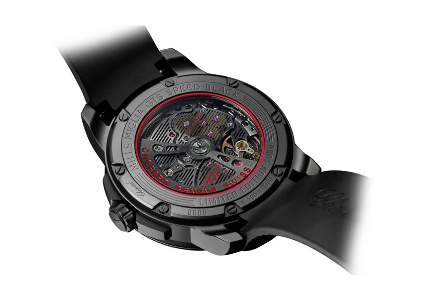 The back of the Chopard Mille Miglia GTS Automatic Speed black